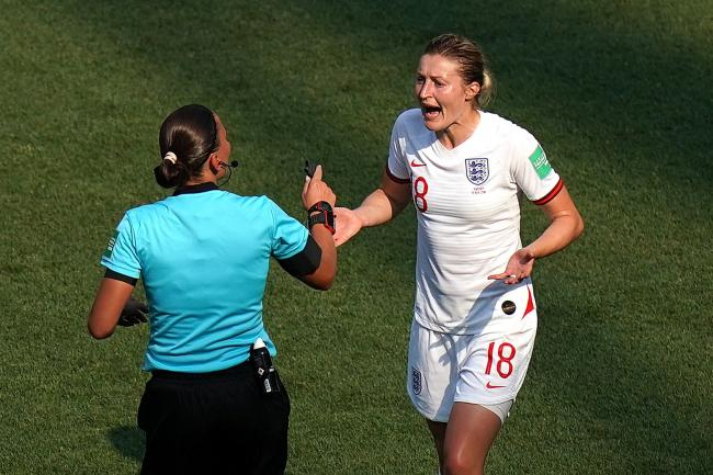 England's Ellen White appeals to Match referee Anastasia Pustovoytova after her goal is disallowed against the USA