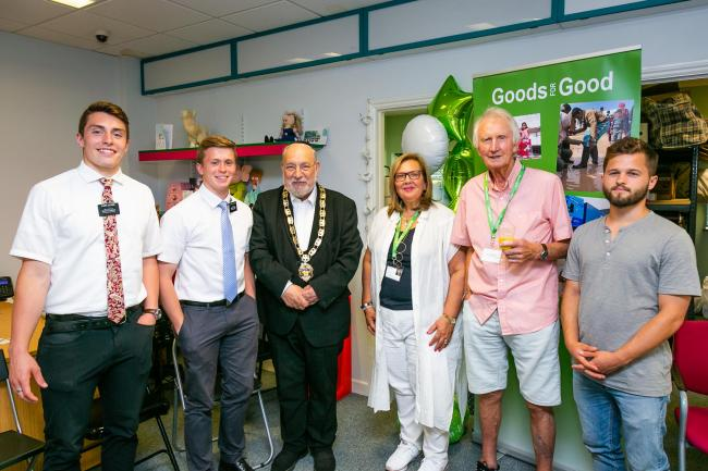 Founder Rosalind Bluestone (fourth from left), pictured with Cllr Alan Plancey, and volunteers including members of Radlett Mormon Church Elders (left) Photo: Yakir Zur