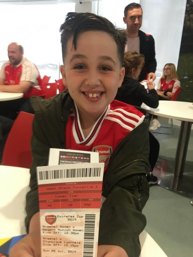 Samuel Van Emden full of smiles before he stepped out as mascot at Arsenal FC on Sunday