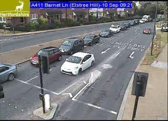 Traffic approaching Elstree village from Watford Road. Credit: HCC
