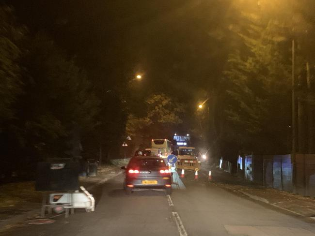 The scene in Arkley last night when the traffic lights had not been set up