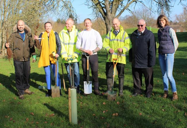 Tree planting at Aberford Park. Photo: Hertsmere Borough Council