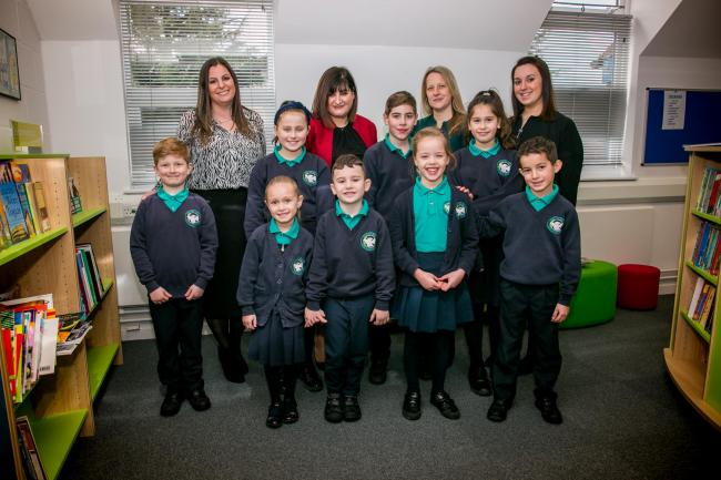 left to right: Pastoral leader Carly Lax, head teacher Karen Cohen, deputy head Hannah Martin, and assistant head Sophie Goldsmith, with pupils