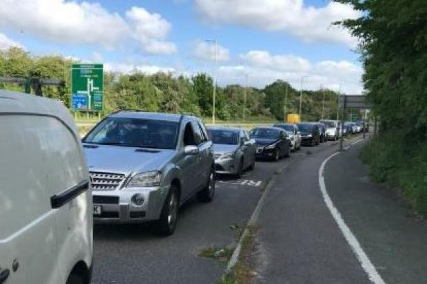This was a queue of cars pictured queuing to get into Waterdale in Garston. Credit: Hertfordshire County Council