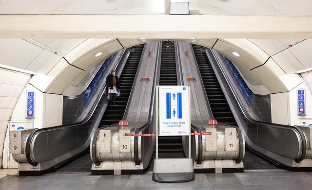 Tube capacity is down to 15 per cent if social distancing is to be maintained (Photo: Eleanor Bentall).