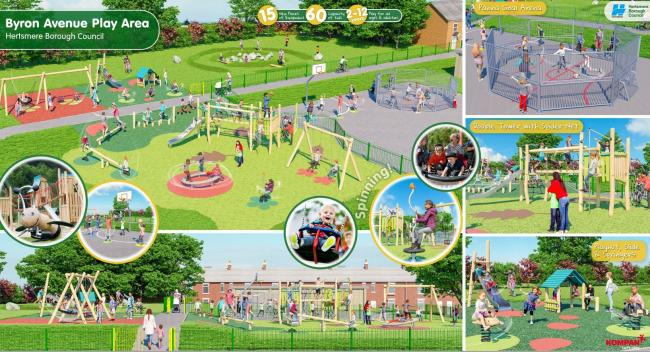 The new Byron Avenue play area is expected to look something like this. Credit: Hertsmere Borough Council