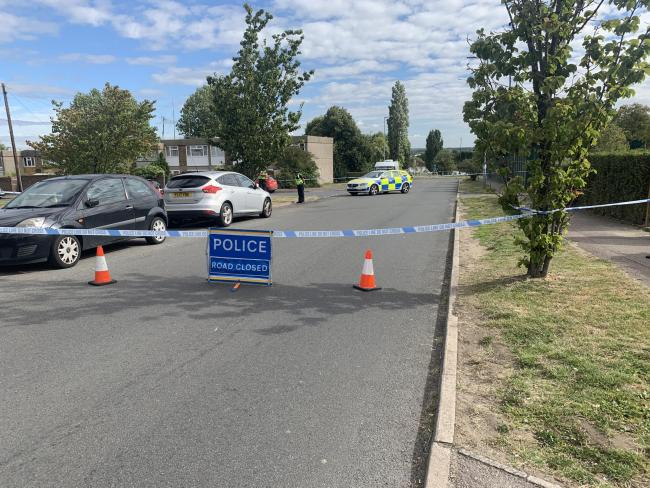 Police cordon in Cranes Way on August 5