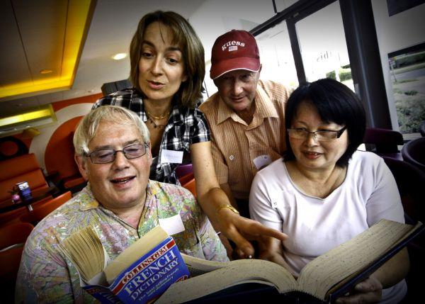 Left to right: Nick Males, Janet Chan, Nigel Clark with French teacher Irmine Mason at a free BETTA French event at the Ibis Hotel, in Borehamwood