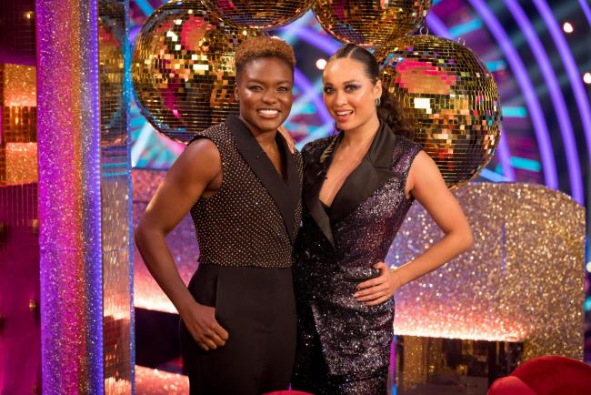 Nicola Adams and dance partner Katya Jones as the new series of Strictly kicked off at Elstree Studios. Credit: BBC/PA