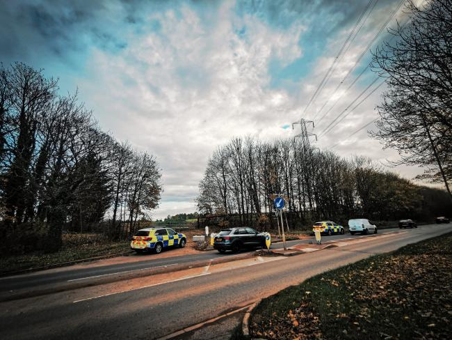 Police vehicles on the A41 in Bushey this morning. Credit: BCH Armed Policing Unit