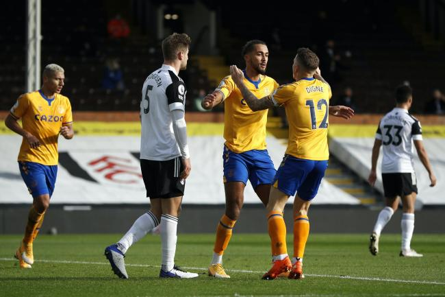 Dominic Calvert-Lewin, centre, scored his ninth and 10th Premier League goals of the season for Everton in their 3-2 win at Fulham