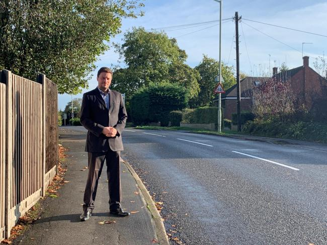 Przemek de Skuba, pictured in Shenley Hill as part of his traffic calming campaign