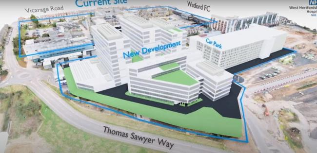 This video shows how the new site would be built next door to the existing site. Credit: West Hertfordshire Hospitals NHS Trust
