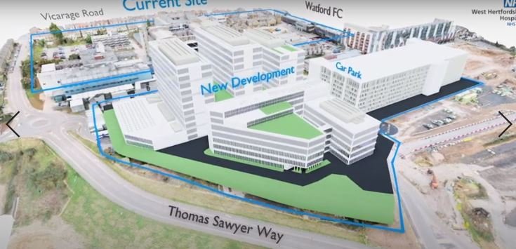 Andy Love believes the video shows the proposed new hospital buildings as close together. Credit: WHHT
