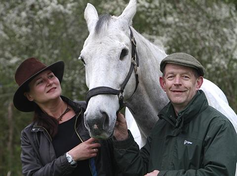 Rue the horse with owners, Elaine Cooper and Bob Massey