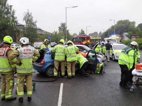 Learner freed from car after driving lesson crash
