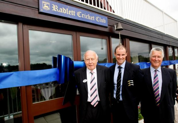 Middlesex CC President Geoff Norris (left), Andrew Strauss (centre), Radlett CC president Philip Marsh (right). Picture: Holly Cant