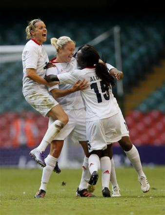 Arsenal Ladies' Kelly Smith and Stephanie Houghton celebrate Team GB's winning goal. Picture: Action Images