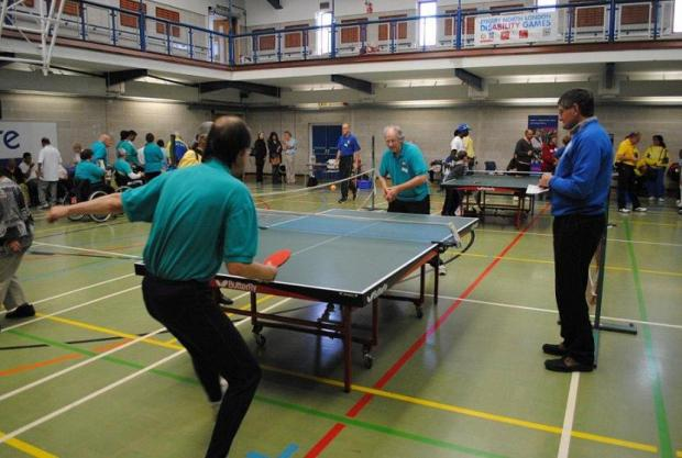 Players during a table tennis tournament