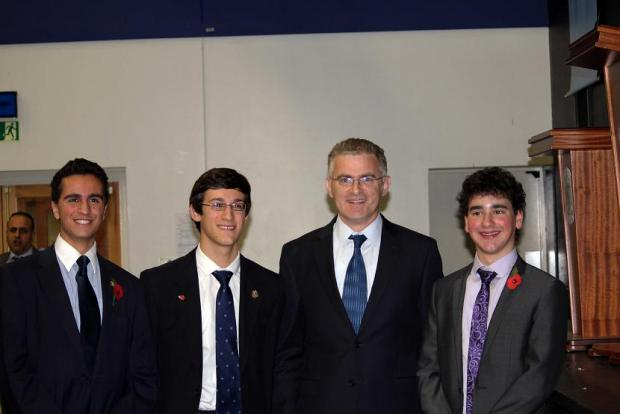 Mr Taub, with pupils Michael Mahgerefteh, Elliot Cohen and Jake Cass