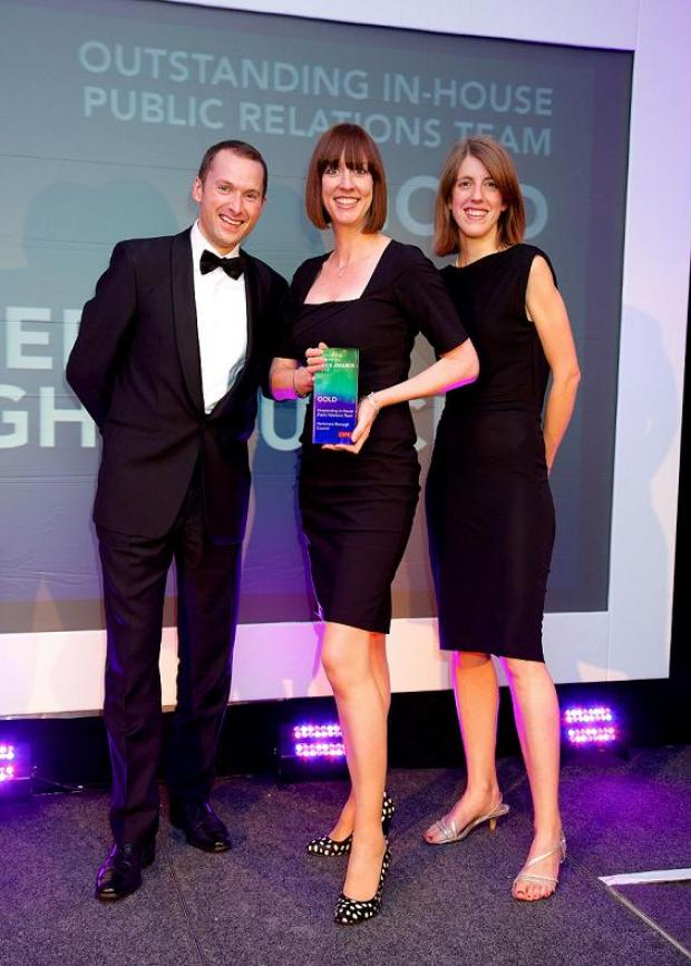 Borehamwood Times: Catherine Feast, centre, and Gail Anderson, right, receiving award