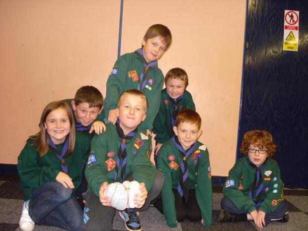 Some of the Cub Scouts with their homemade footballs
