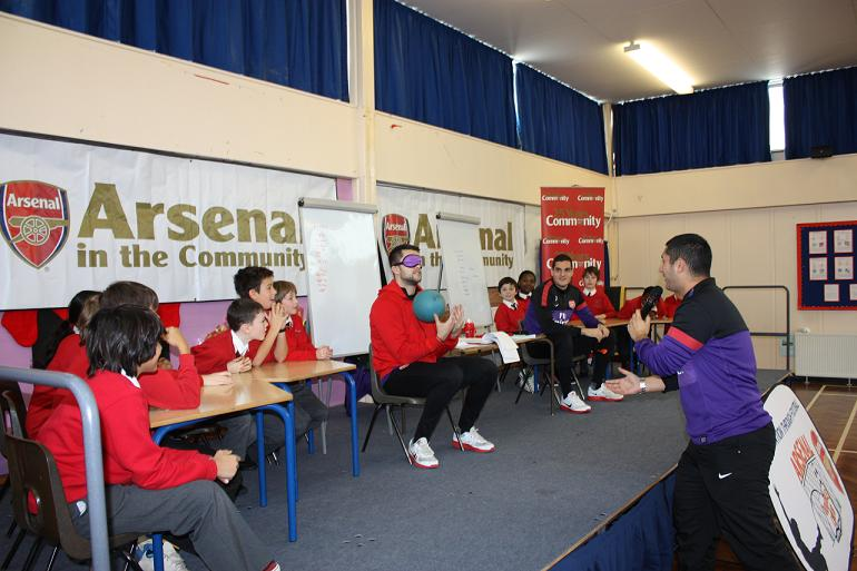 Arsenal players at the school