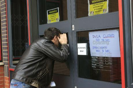 The DVLA office was shut as staff staged a walkout