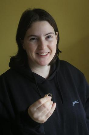Amanda Byrne with the ring