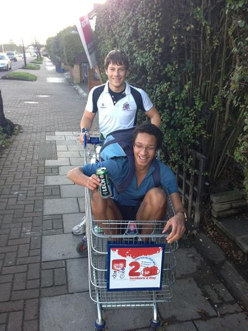 Teens travel in shopping trolleys to raise cash