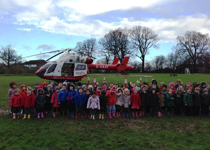 Children delighted by helicopter land