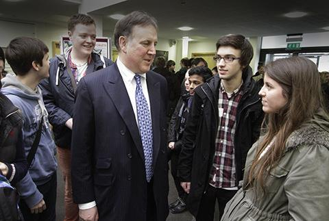 Borehamwood Times: Students with Lord Fink