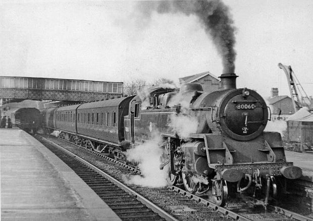 A steam train at Elstree and Borehamwood in the early 1900s