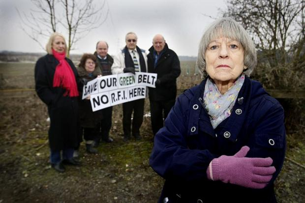 Ann Goddard with other rail freight campaigners