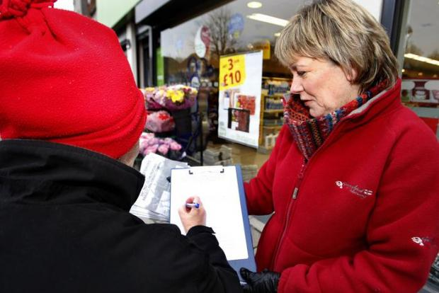 Cathy Bolshaw collected around 200 signatures this weekend
