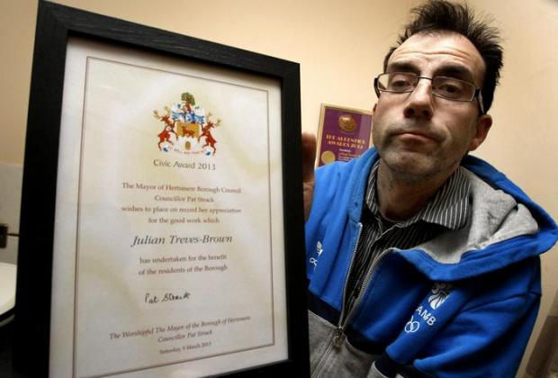 Julian Treves-Brown was one of nine winners at Hertsmere's Civic Awards