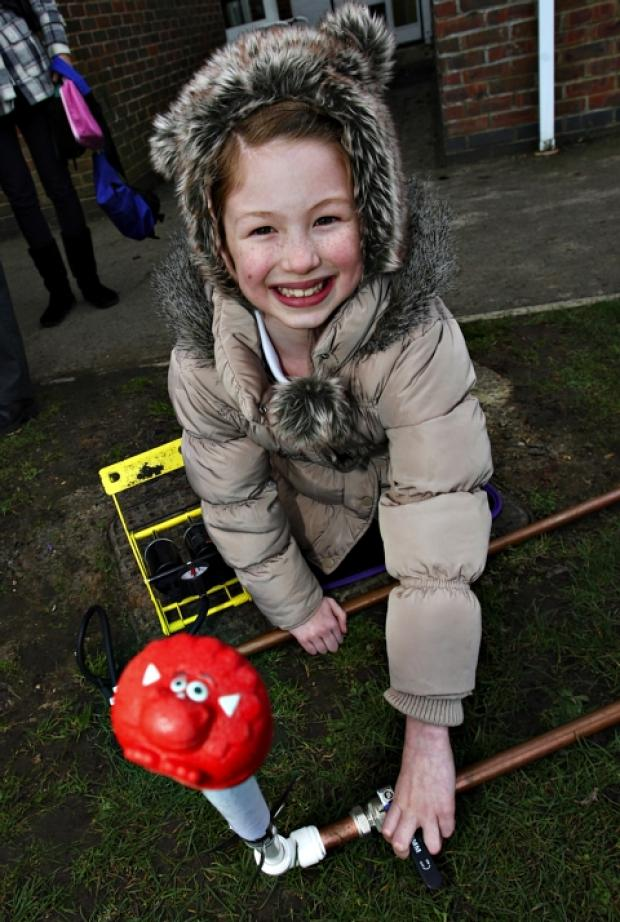 Children launch red-nosed rockets