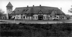 Glorious past: the Thatched Barn as it was in the 1930s. It was later rebuilt as a hotel
