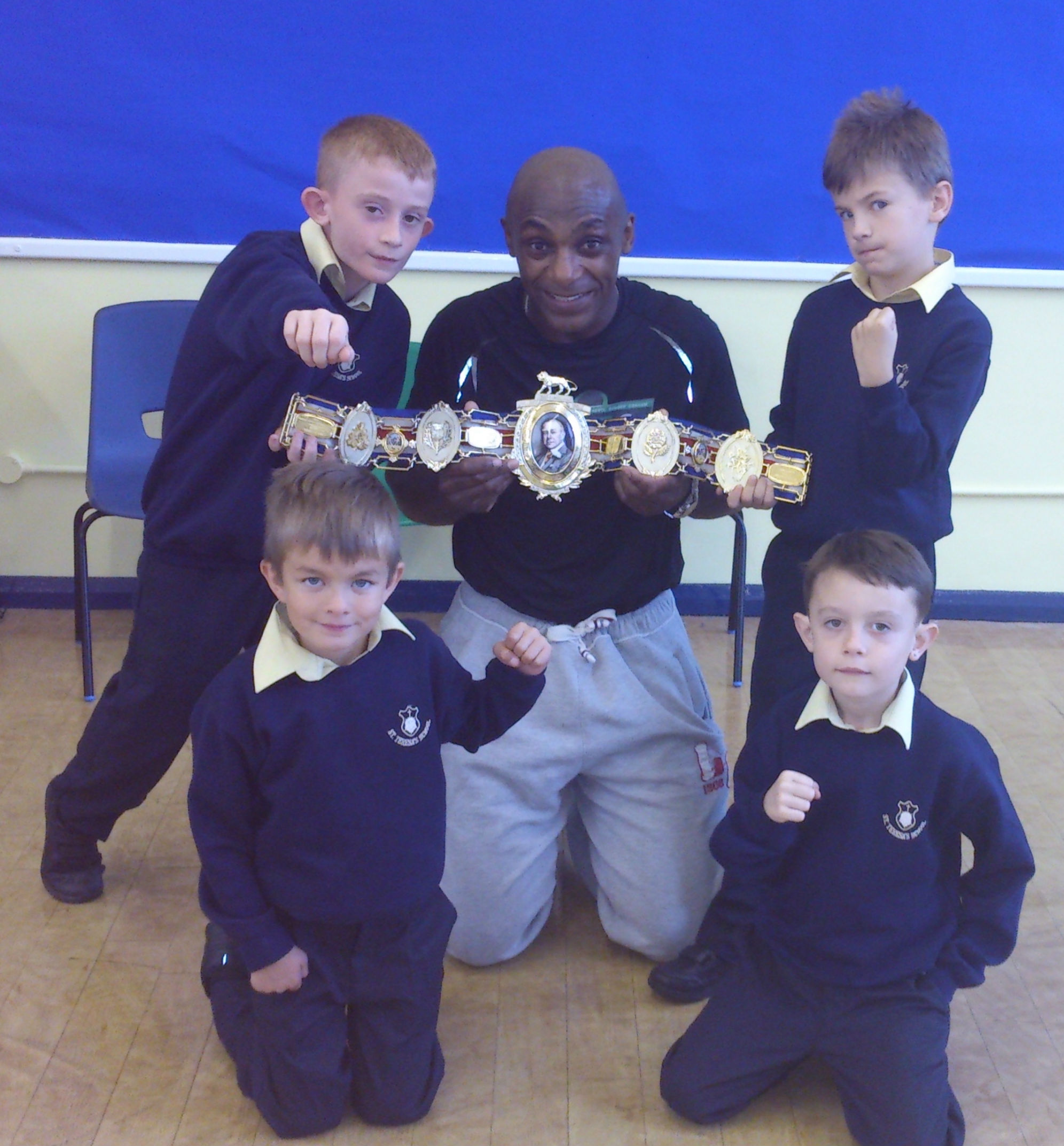 Herol Graham and children from St Teresa's Primary School