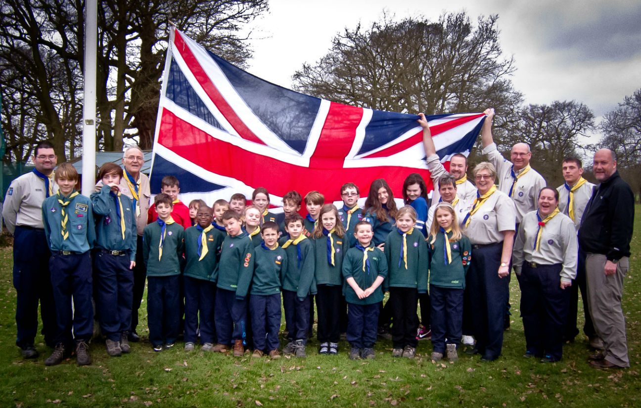 7th Borehamwood Scouts with the Union Flag