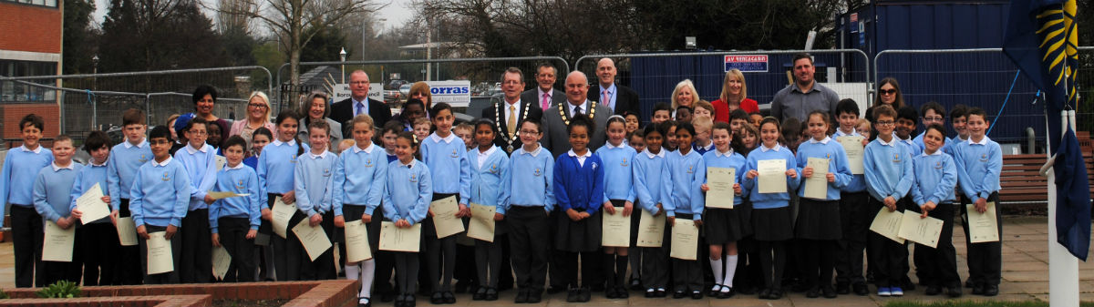 Schoolchildren getting ready to mark Commonwealth Day in Borehamwood.