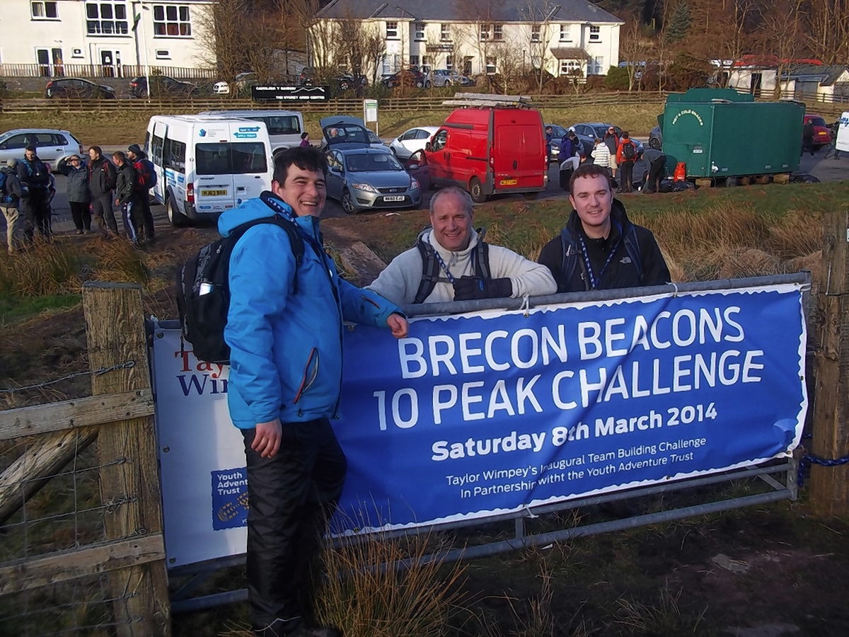 Eric Gwozdz, Lee Bishop and Jack Costello from Taylor Wimpey North Thames made up one of the 45 Taylor Wimpey teams who took part in the Brecon 10 Peaks Challenge