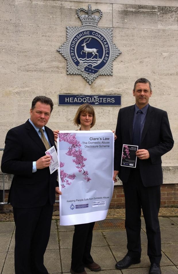 Borehamwood Times: Police and Crime Commissioner David Lloyd (left) is pictured with Sarah Taylor Domestic Abuse Programme Manager at the Community Safety Unit and Detective Superintendent Michael Hanlon