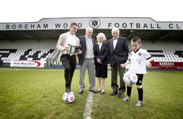 Borehamwood Times: Dick and  Vera Clark, owners of Brookside Boys' Club and deputy chairman of Boreham Wood FC Billy Hunter
