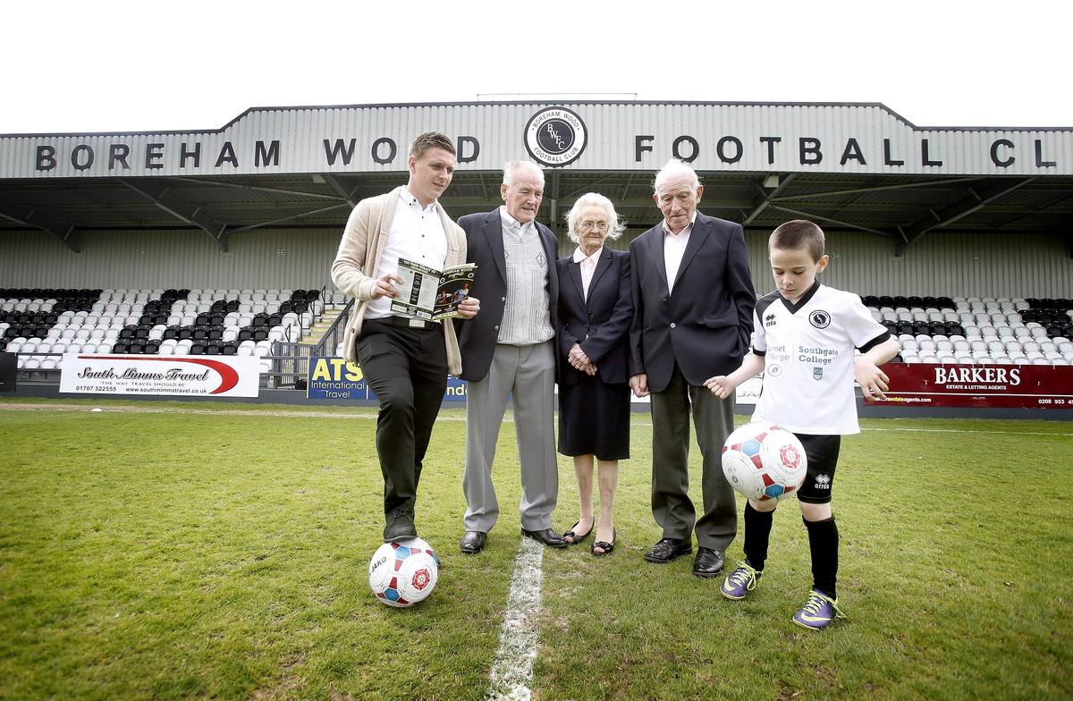 Dick and  Vera Clark, owners of Brookside Boys' Club and deputy chairman of Boreham Wood FC Billy Hunter