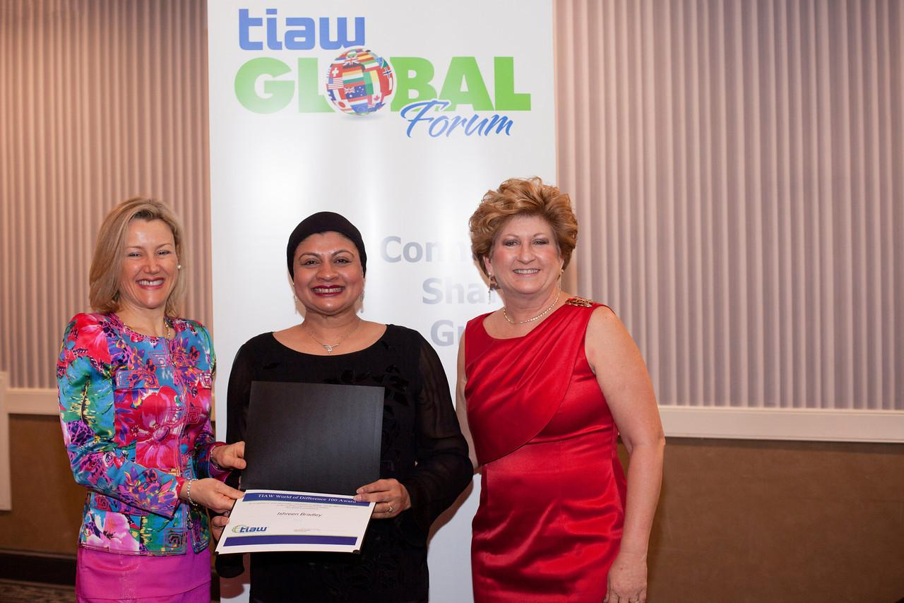 Ishreen Bradley with Amanda Ellis, UN representative for New Zealand (left) and Lisa Kaiser Hickey, president of TIAW global forum (right)
