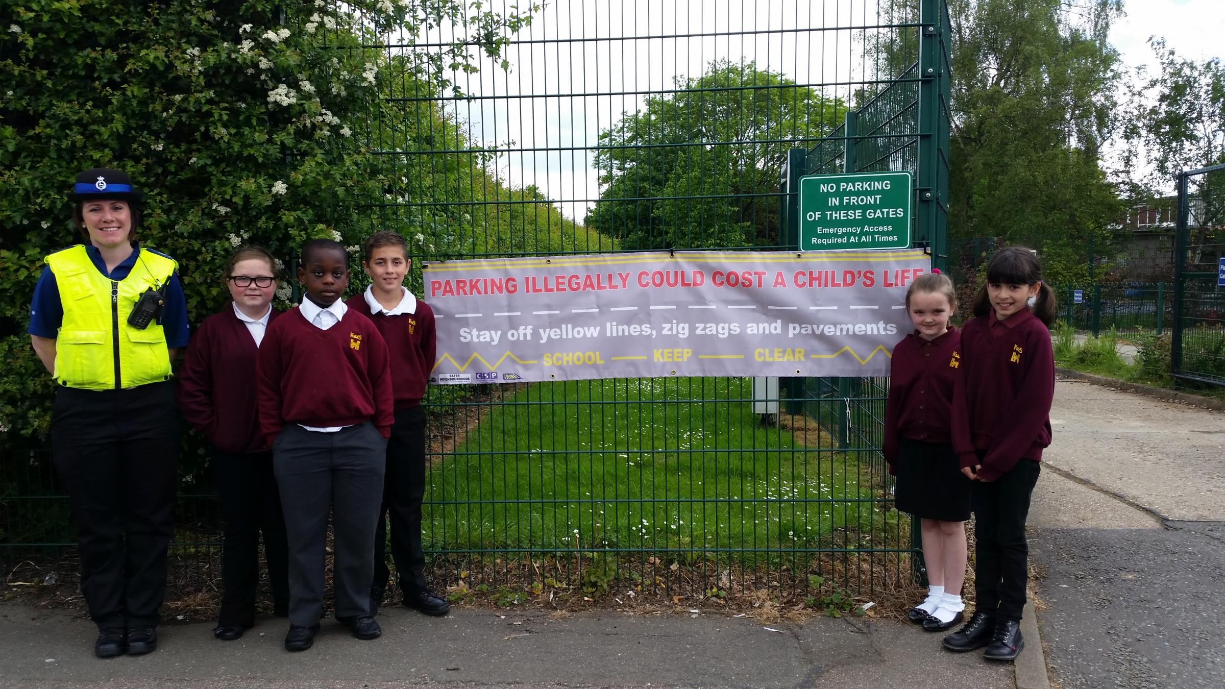 Eye-catching banners, funded by the Hertsmere Community Safety Partnership, were put up outside the school after the assembly educating pupils on the rules of the road