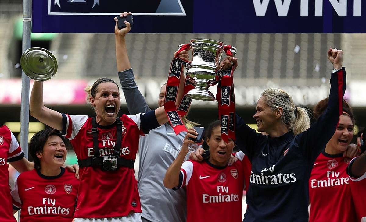 Arsenal Ladies celebrate their cup triumph: Action Images