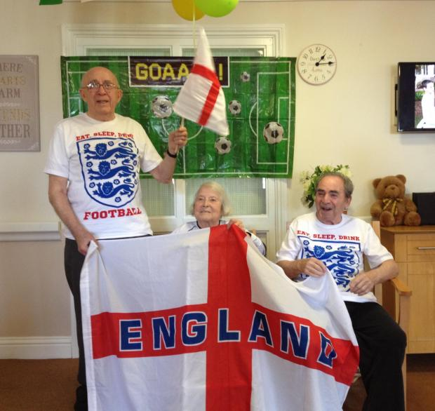 Borehamwood Times: The Mead care home residents Cecil, Joyce and Melvin get ready for the first game