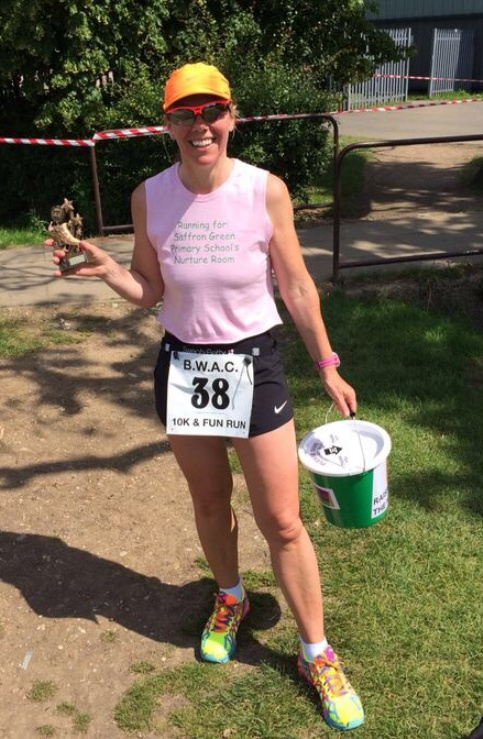 Fundraiser Allison Kaye took part in last weekend's 10k run with her son Sam- managing to win the ladies' race.